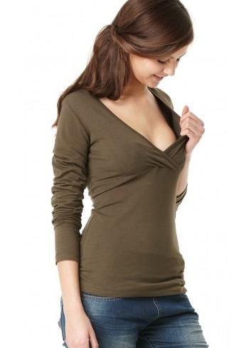 AMY kojící tričko s dlouhým rukávem zelené