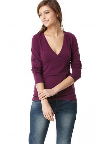 AMY tričko na dojčenie s dlhým rukávom fialové